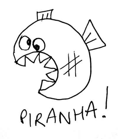 This is a crappy biro picture of a cartoon piranha fish.